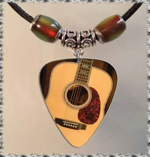 Mood Martin GUITAR PICK NECKLACE Tibetan Silver Leather Jewelry