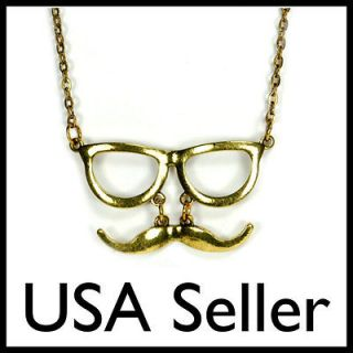 MUSTACHE & GLASSES CHARM NECKLACE Moustache Fashion Jewelry NEW