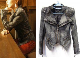Jacket Punk Strong Spike Studded Shoulder Denim Cropped Jacket Coat