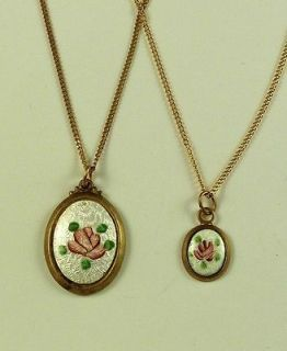 MOTHER DAUGHTER NECKLACE JEWELRY VINTAGE BRASS PINK FLOWER GUILLOCHE