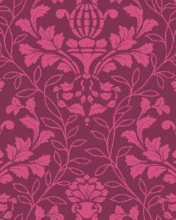 Benartex City Blooms Damask Toile Magenta Tonal Fabric
