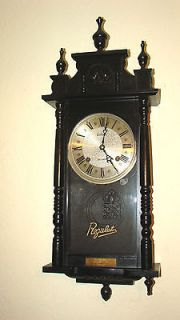 Day Wall Clock, Black Finish,Keeps Time,Chimes Hour & Half, Regulator