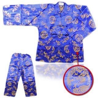 Boys Chinese Dragon Totem Long 2 PCS Blue Long Sleeves & Trouser Size