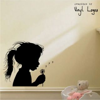 GIRL BLOWING DANDELION BEDROOM MURAL STENCIL WALL STICKER TRANSFER