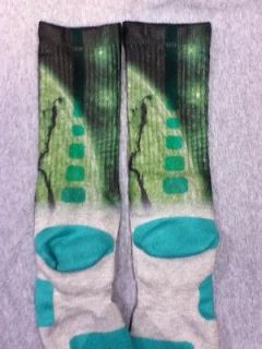 Newly listed Very Rare Custom Nike Elite Socks Neon Green Planet