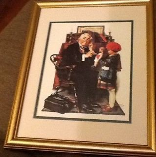 Matted Framed Norman Rockwell The Doctor & The Doll Little Girl With