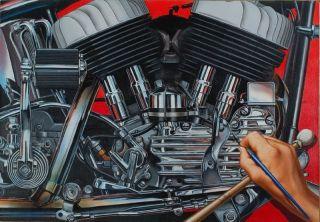 David Mann Art Hand Painted Hand Painting Easyriders Print Harley
