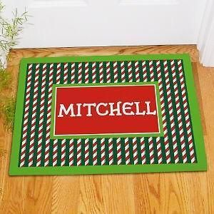 Christmas Doormat Candy Cane Stripe Holiday Welcome Mat in 2 szs