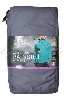 womens Rain Suit Waterproof Jacket Pants Packable GRAY Black   XL