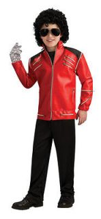 Deluxe Michael Jackson Red Beat It Leather Jacket Boys Costume NEW
