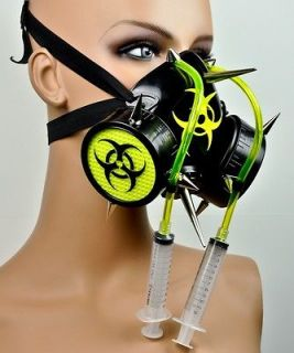 SPIKE BIO HAZARD GAS MASK RESPIRATOR CYBER INDUSTRIAL GOTH DEATH METAL