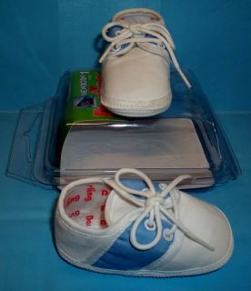 Darling 210 Baby Infant Newborn Saddle Oxford Blue & White Shoes