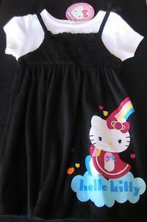 Hello Kitty Tee 2fer Dress Black T Shirt Dress Size 24 Mos Rainbow
