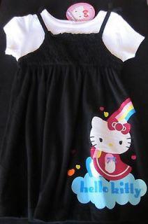 Hello Kitty Tee 2fer Dress Black T Shirt Dress Size 24 Mos Rainbow