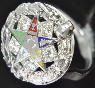 Estate Vintage 14K White Gold Diamond Enamel Masonic Eastern Star