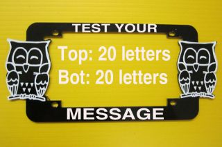 OWL MOTORCYCLE ALUMINUM LICENSE PLATE FRAME PERSONALIZED YOUR TEXT