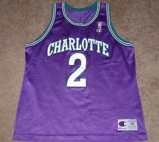 CHARLOTTE HORNETS # 2 NBA THROWBACK JERSEY BY CHAMPION ADULT 48