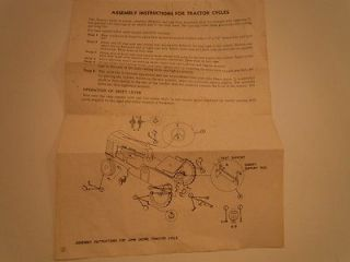 ORIGINAL 1954 JOHN DEERE 140 PEDAL TRACTOR ASSEMBLY INSTRUCTIONS L14