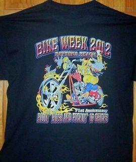 2012 Daytona Beach Bike Week Black POCKET T Shirt Sz SM   5XL Pickin