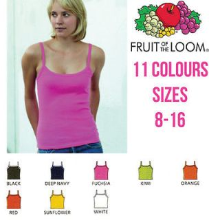 FRUIT OF THE LOOM LADY FIT STRAP VEST TANK TOP STRAPPY CAMISOLE