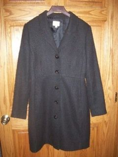 Old Navy Black Long Winter Lined Dress Coat Fitted Large