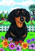NEW small Garden size Spring time Flag for Black Tan Dachshund dog