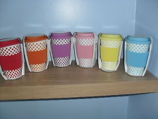 TRAVEL MUG WITH SILICON LID VARIOUS COLOURS SMALL POLKA DOT DESIGN