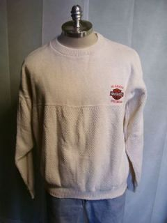 Harley Davidson Cotton Knit Sweater USA Made Embroidered sz L