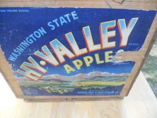 ANTIQUE  WOODEN FRUIT CRATE:HY VALLE Y:HANSEN FRUIT&COLD STORAGE