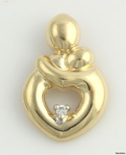 02ctw Diamond Mother and Child Heart Pendant   14k Solid Yellow Gold