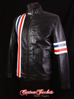 Mens EASY RIDER Black AMERICA Motorcycle Stripes Lambskin Leather