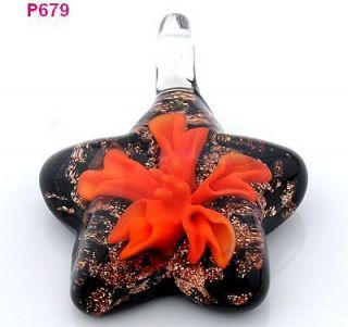 1pcs handmade flower star lampwork Murano art glass beaded pendant