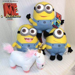 4X Despicable Me Plush 3 Minions & Unicorn Soft Toy Stuffed Animal