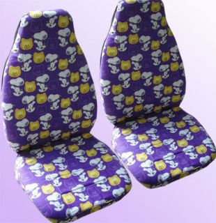 snoopy design front set purple or pink car seat covers CHOOSE ur