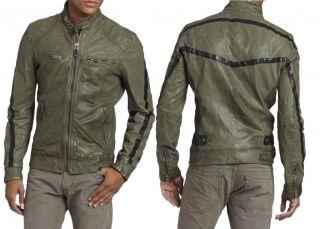 NEW DIESEL Mens Slim Fit Designed Motorcycle Leather Short Jacket