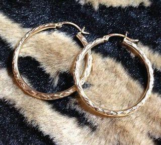 14KT SOLID GOLD Hoop Earrings; 1 3/8; 1.7 Grams