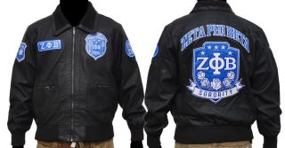 ZETA PHI BETA leather jacket Zeta Phi Beta Black long sleeve Leather