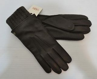 MEN 2 IN 1 WHIPSTITCHED BROWN DEER LEATHER LAMBWOOL GLOVES M