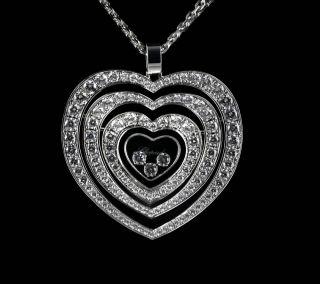 Diamonds 18K White Gold Medium Pave Diamond Heart Pendant Necklace