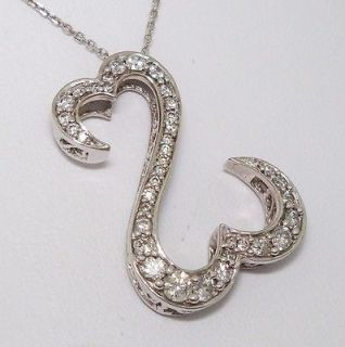 Seymour 14K Solid White Gold 1ct Diamond Open Heart Necklace 18   20