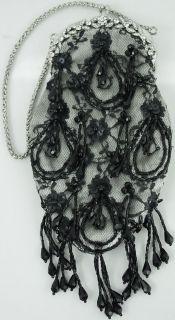 SIMON Black Lace & Silver Satin Rhinestone Frame Clutch w/ Black