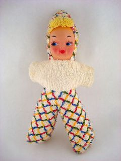 VINTAGE TOY STUFFED ANIMAL DOLL BABY RUBBER FACE PLAID SUIT CLOTHES
