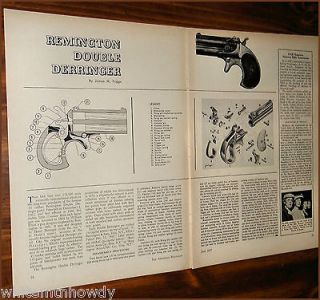 1957 REMINGTON Double Derringer Parts List 2 pg Assembly Article w
