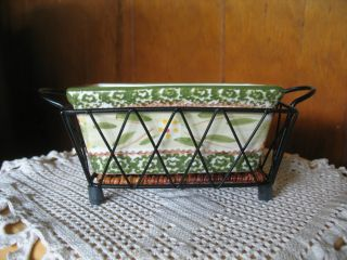 NEW, TEMP TATIONS BY TARA OVENWARE, OLD WORLD GREEN, SM. RECTANGLE 3