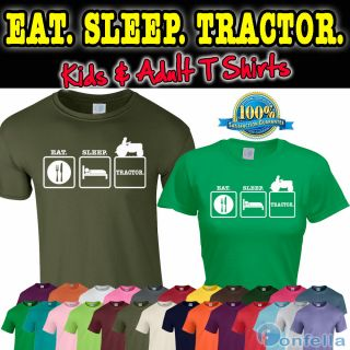 EAT SLEEP TRACTOR T SHIRT   Farm tshirt clothing funny slogan present