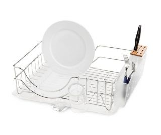 simplehuman Dish Rack Stainless Steel With Bamboo Knife Block