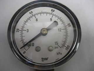 Marshalltown G14381 Low Pressure Gauge 0 15 PSI 2 Dial 1/4 NPT