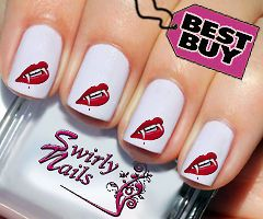 20 Halloween Scary Hot Vampire Lips Nail Art Transfer Decal Stickers