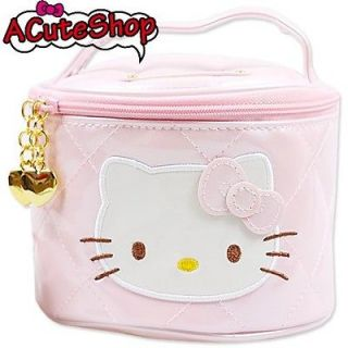 Sanrio Hello Kitty Vanity Cosmetic Case Ribbon Diamond Check Pink