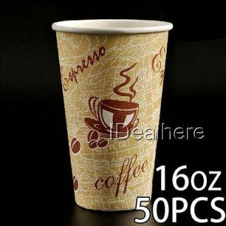 50pcs 16oz Thick Disposable Paper Cup for Coffee Tea w/Milk Juice